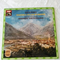 Discos de vinilo: BRAHMS. SINFONÍA N°4 EN MI MENOR. HERBERT VON KARAJAN. ORQUESTA FILARMONÍA.EMI, LA VOZ DE SU AMO. LP. Lote 205686132