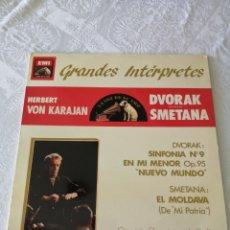 Discos de vinilo: HERBERT VON KARAJAN. DVORAK. SINFONIA 9.OP.95.NUEVO MUNDO.SMETANA. EL MOLDAVA.EMI LAVOZ DE SU AMO.LP. Lote 205686543