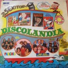 Discos de vinilo: DISCOLANDIA - 25 EXITOS - 2 LP VINILO - BELTER 1980 - MILIKI, PARCHIS, NINS, REGALIZ, PITUFOS .... Lote 205723193
