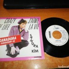 Discos de vinilo: SANDRA KIM CRAZY OF LIFE EUROVISION BELGICA 1986 SINGLE VINILO PROMO 1986 ESPAÑA 2 TEMAS. Lote 205736687