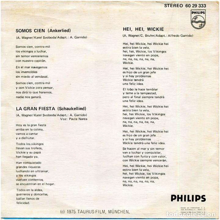 Discos de vinilo: Vickie El Vikingo – Hei, Hei, Wickie - Sg Spain 1975 - Philips 60 29 333 - Foto 2 - 205746388