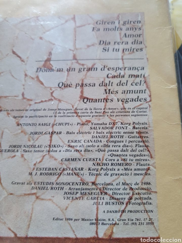Discos de vinilo: Josep meseguer, cants de la interior, 1986 - Foto 6 - 205780433