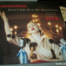 Discos de vinilo: MADONNA - DON´T CRY FOR ME ARGENTINA ..MAXISINGLE DE 1996 - B.S.O ORIGINAL - MUY RARO E VINILO. Lote 205799570