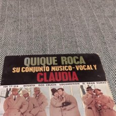 Discos de vinilo: SINGLE QUIQUE ROCA Y CLAUDIA. Lote 205817966