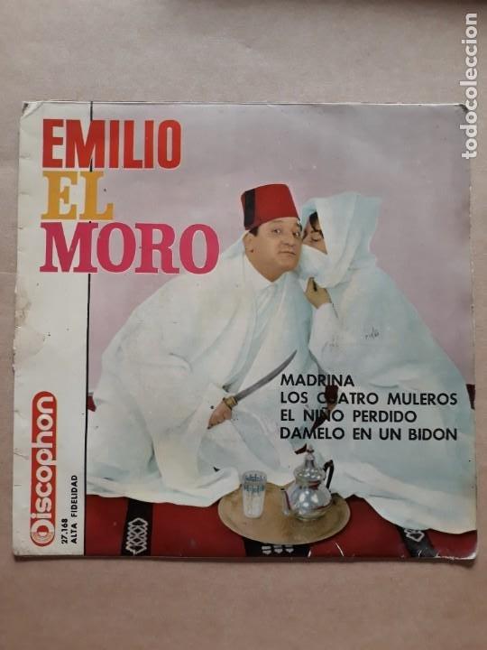 DISCO SINGLE. EMILIO EL MORO. MADRINA. LOS CUATRO MULEROS. EL NIÑO PERDIDO. DAMELO EN UN BIDON. (Música - Discos - Singles Vinilo - Solistas Españoles de los 50 y 60)