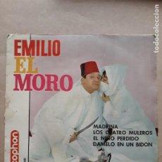Discos de vinilo: DISCO SINGLE. EMILIO EL MORO. MADRINA. LOS CUATRO MULEROS. EL NIÑO PERDIDO. DAMELO EN UN BIDON.. Lote 205842390