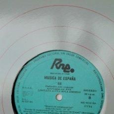 Discos de vinilo: MÚSICA ESPAÑOLA. RNE TRANSCRIPCIONES. 44. MÚSICA EN COLABORACIÓN. SOUTULLO VERT. Lote 205847557