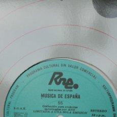 Discos de vinilo: MÚSICA DE ESPAÑA. TRANSCRIPCIONES RNE. NÚMERO 55. ESTRENOS DE LA TEMPORADA 1983-84.. Lote 205867346