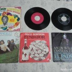 Discos de vinilo: LOTE ANTIGUO DE 6 DISCOS DE VINILO VARIADOS DEFECTUOSOS. 6 SINGLES RETRO. Lote 206134142