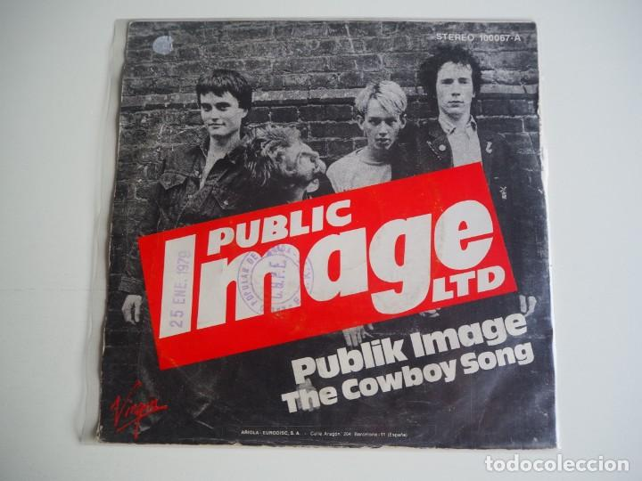 Discos de vinilo: Single P.I.L. (PUBLIC IMAGE LIMITED) Publik Image / The Cowboy Song Made in Spain PUNK Sex Pistols - Foto 2 - 206168793