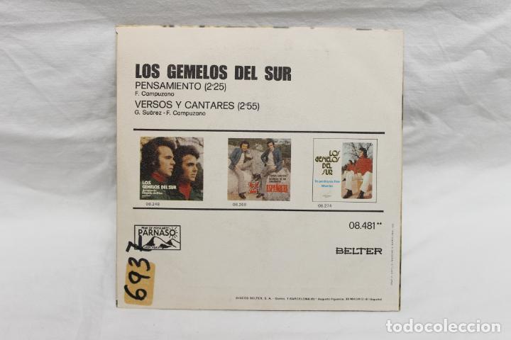 Discos de vinilo: LOS GEMELOS DEL SUR, SINGLE, PENSAMIENTO, 1975, BELTER - Foto 2 - 206195850
