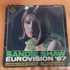 Discos de vinilo: SINGLE , SANDIE SHAW, EUROVISIÓN ´67, MARIONETAS EN LA CUERDA , VER FOTOS. Lote 206249746