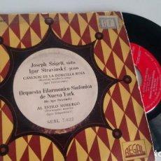 Discos de vinilo: SING ( VINILO) DE ORQUESTAN FILARMONICO-SINFONICA DE NUEVA YORK CON JOSEPH SZIGETI E IGOR STRAVINSKY. Lote 206267106