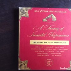 Discos de vinilo: THE GOLDEN AGE AT THE METROPOLITAN. A TREASURY OF INMORTAL PERFORMANCES. RCA VÍCTOR. BOX. Lote 206298738