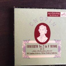 Discos de vinilo: CHOPIN. CONCERTO NO 2 IN F MINORÍA. ARTUR RUBINSTEIN PIANIST. BOX. Lote 206298906