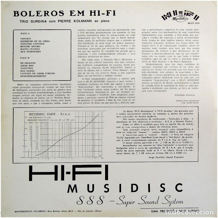 Discos de vinilo: Trio Surdina Com Pierre Kolmann – Boleros Em Hi-Fi - Lp Brazil - Hi-Fi Musidisc HI-FI 2018 - Foto 2 - 206304630