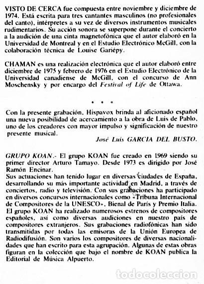 Discos de vinilo: LUIS DE PABLO / GRUPO KOAN - Foto 4 - 206313443
