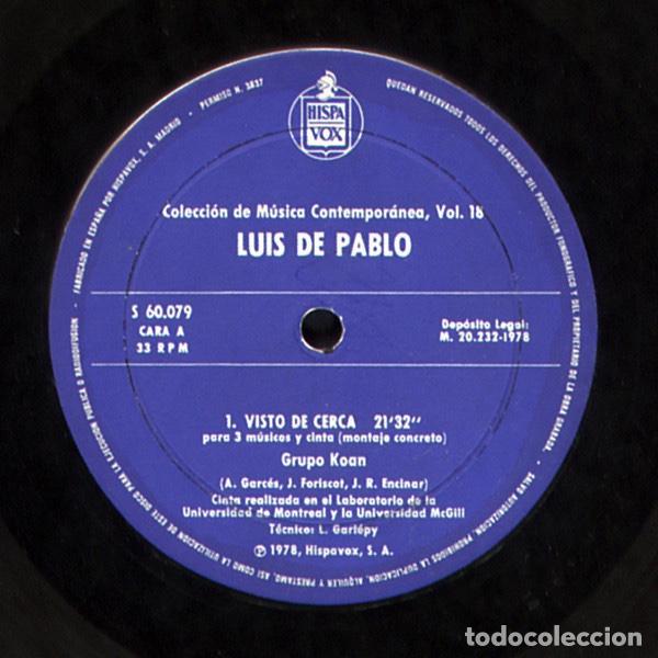 Discos de vinilo: LUIS DE PABLO / GRUPO KOAN - Foto 5 - 206313443