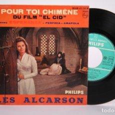 Discos de vinilo: DISCO EP DE VINILO - LES ALCARSON / POUR TOI CHIMÈNE - DU FILM EL CID - PHILIPS - FRANCIA. Lote 206348661