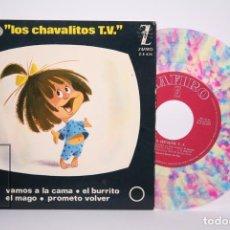 Dischi in vinile: DISCO EP DE VINILO - LOS CHAVALITOS T.V / VAMOS A LA CAMA.. - VINILO DE COLOR - ZAFIRO- AÑO 1964. Lote 206348677