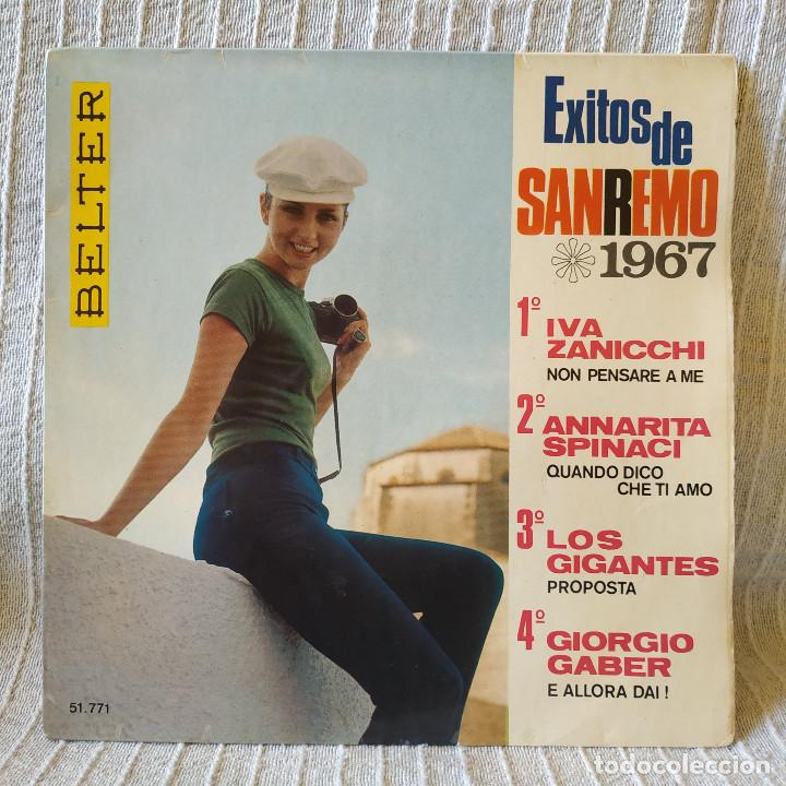 EXITOS DE SAN REMO 1967 - IVA ZANICCHI / ANNARITA SPINACI / LOS GIGANTES / GIORGIO GABER -EP BELTER (Música - Discos de Vinilo - EPs - Otros Festivales de la Canción)