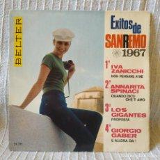 Discos de vinilo: EXITOS DE SAN REMO 1967 - IVA ZANICCHI / ANNARITA SPINACI / LOS GIGANTES / GIORGIO GABER -EP BELTER. Lote 206375198