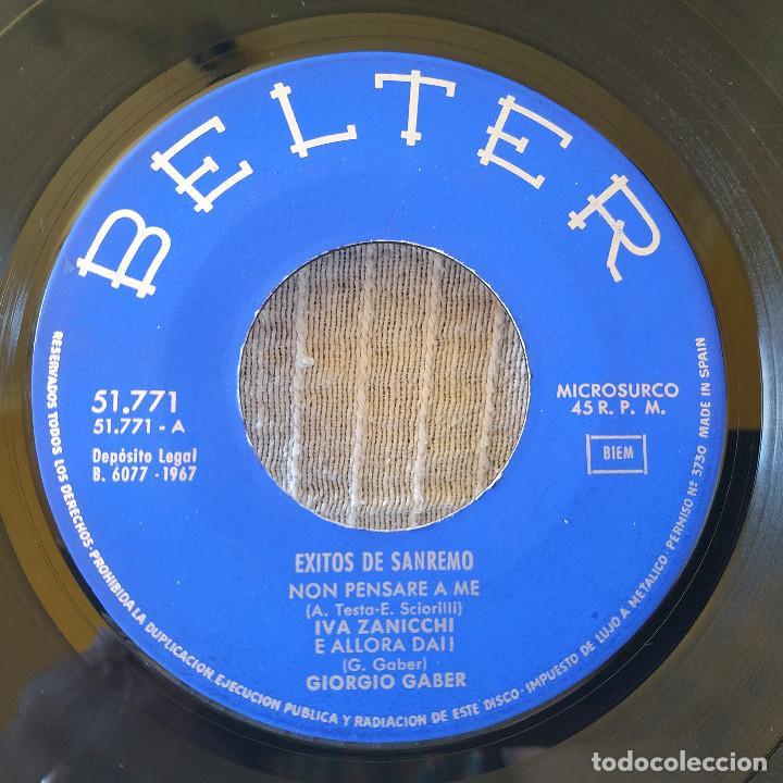 Discos de vinilo: EXITOS DE SAN REMO 1967 - IVA ZANICCHI / ANNARITA SPINACI / LOS GIGANTES / GIORGIO GABER -EP BELTER - Foto 3 - 206375198