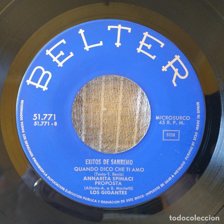Discos de vinilo: EXITOS DE SAN REMO 1967 - IVA ZANICCHI / ANNARITA SPINACI / LOS GIGANTES / GIORGIO GABER -EP BELTER - Foto 4 - 206375198