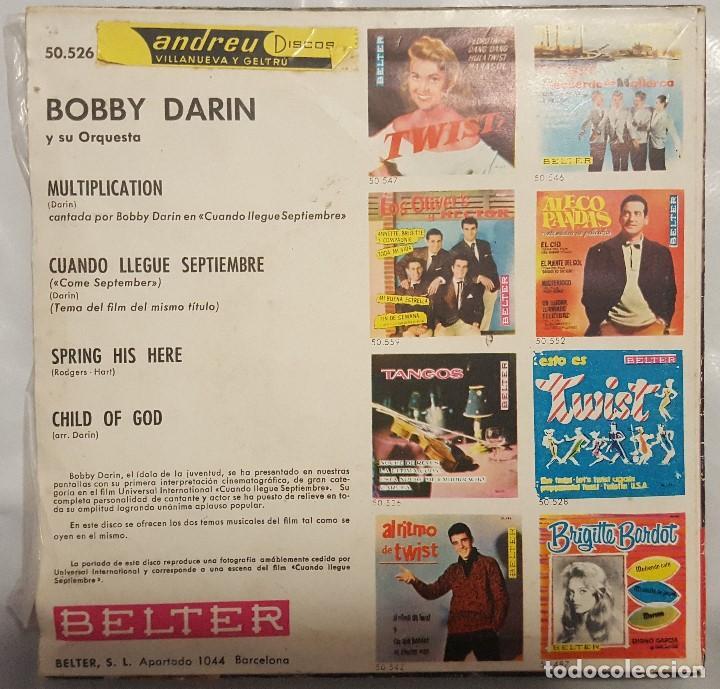 Discos de vinilo: EP / B.S.O. / BOBBY DARIN Y SU ORQUESTA / CUANDO LLEGUE SEPTIEMBRE / BELTER 1962 - Foto 2 - 206413912