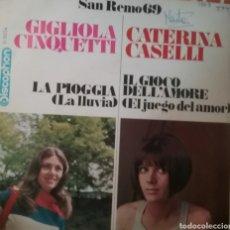 Discos de vinilo: GIGLIOLA CINQUETTI Y CATERINA CASELLI SINGLE SELLO DISCOPHON AÑO 1969. Lote 206443690
