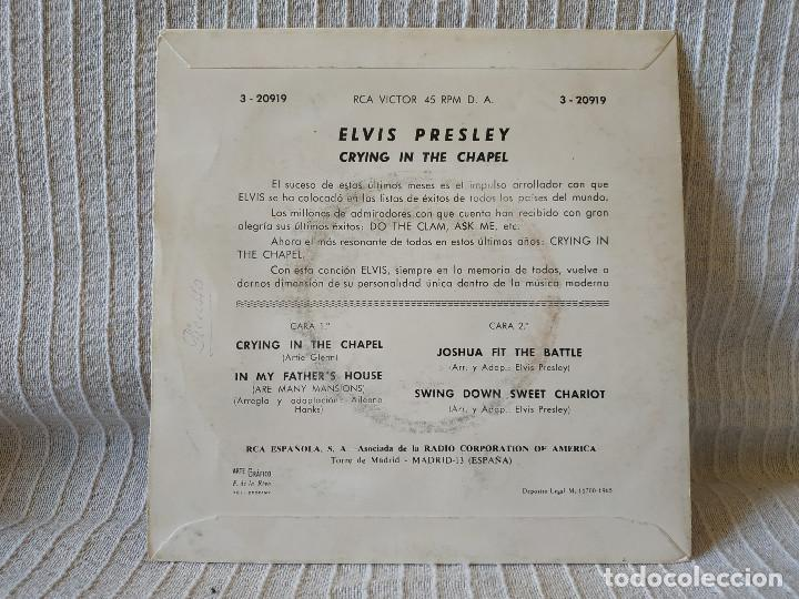 Discos de vinilo: ELVIS PRESLEY - CRYING IN THE CHAPEL + 3 - EP ORIGINAL SPAIN RCA VICTOR 3-20919 DEL AÑO 1965 - Foto 2 - 206468948