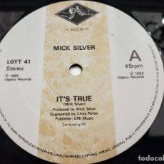 """Discos de vinilo: MICK SILVER - IT'S TRUE (12"""") 1986. SELLO:LEGACY RECORDS CAT. Nº: LGYT 41.VINILO NUEVO. Lote 206540818"""