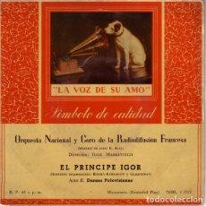Discos de vinilo: EL PRINCIPE IGOR - ORQUESTA NACIONAL Y CORO DE LA RADIODIFUSION FRANCESA, SINGLE LA VOZ DE SU AMO. Lote 206553270