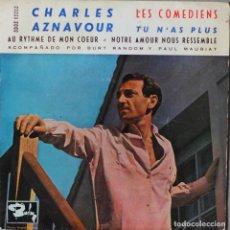 Discos de vinilo: CHARLES AZNAVOUR// LES COMEDIENS +3//EP// 1962// BARCLAY. Lote 206573053