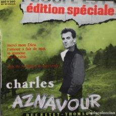 Discos de vinilo: CHARLES AZNAVOUR// MERCI MON DIEU+3//EP// DUCRETET THOMSON FRANCE. Lote 206573687
