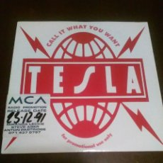 Discos de vinilo: TESLA - SINGLE - CALL IT WHAT YOU WANT - PROMO - CANCION LP ´EDIT - PSYCHOTTIC SUPPER. Lote 206584215
