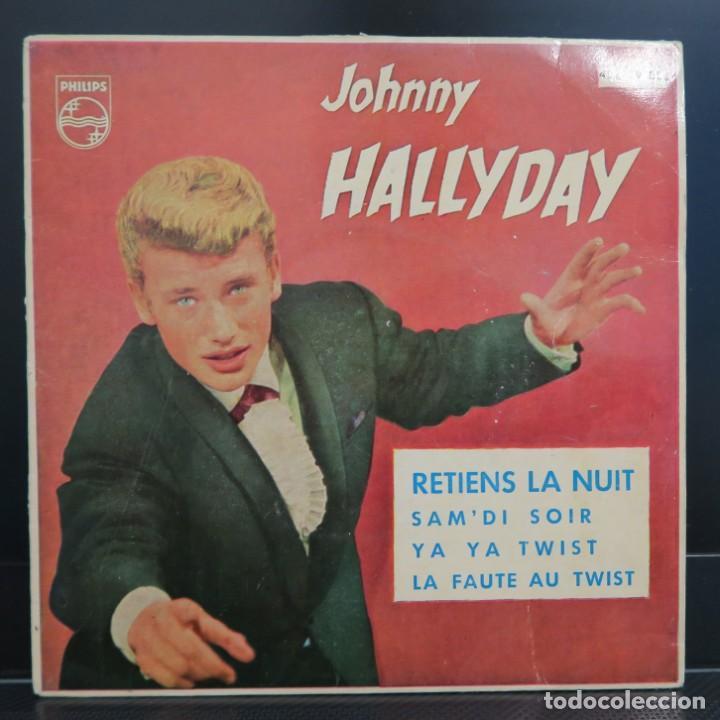 JOHNNY HALLYDAY EP RETIENS LA NUIT 1962 VINILO COLOR AZUL (Música - Discos de Vinilo - EPs - Pop - Rock Extranjero de los 50 y 60)