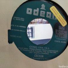 Discos de vinilo: CECILIA SINGLE PROMOCIONAL COMO UNA OLA / HOLA ESPAÑA 1965 RAREZA. Lote 206916623