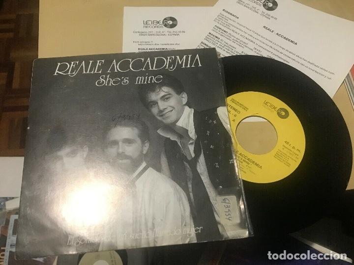 REALE ACCADEMIA - SHE'S MINE - SINGLE PROMOCIONAL + INSERTS - ITALO DISCO (Música - Discos - Singles Vinilo - Disco y Dance)