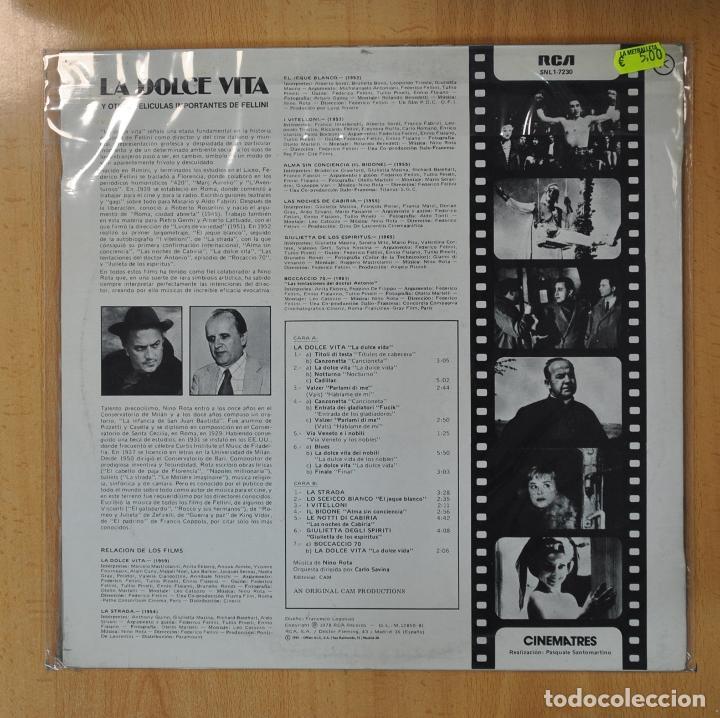 Discos de vinilo: NINO ROTA - LA DOLCE VITA Y OTRAS PELICULAS IMPORTANTES DE FELLINI - BSO - LP - Foto 2 - 206935673