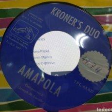 Discos de vinilo: KRONER'S DÚO SINGLE AMAPOLA / BANJO BOY 1961 JOYAZA RAREZA. Lote 206980982