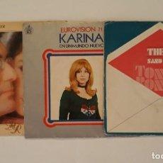 Discos de vinilo: 3 DISCOS SINGLES. ALBANO Y ROMINA. KARINA. TONY RONALD. Lote 207002606