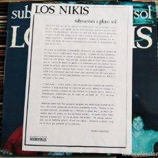 Discos de vinilo: LOS NIKIS - SUBMARINES A PLENO SOL (LP, MINIALBUM) (3 CIPRESES) 3C-180 (EX). Lote 207026142