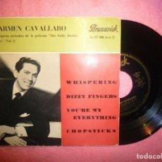 "Discos de vinilo: 7"" CARMEN CAVALLARO - WHISPERING +3 - EP SPAIN PRESS - BRUNSWICK 10 707 EPS (VG++/EX-). Lote 207042115"