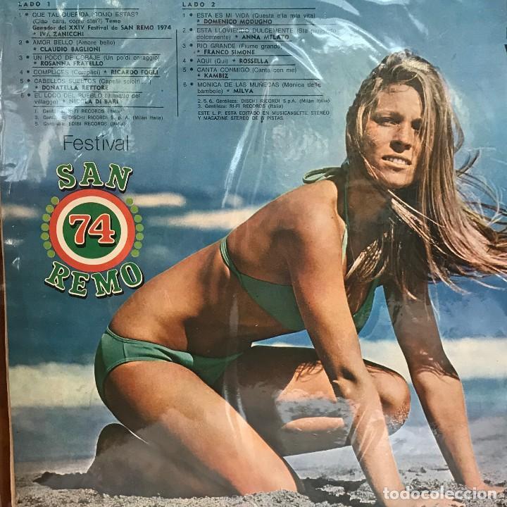 Discos de vinilo: LP argentino de artistas varios Festival San Remo 74 - Foto 2 - 207043347