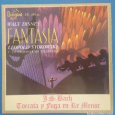 Discos de vinilo: SINGLE / WALT DISNEY, FANTASIA / LEOPOLD STOKOWSKI - J.S.BACH TOCCATA Y FUGA / DISNEYLAND 1963. Lote 207108221