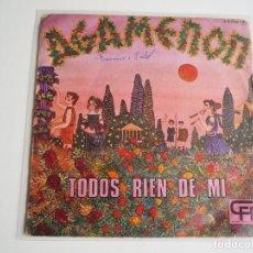 Discos de vinilo: AGAMENON SINGLE TODOS RÍEN DE MI + 1 CFE-EXPLOSION (1975) ALAIN MILHAUD PSICODELIA PROGRESIVO. Lote 207141810