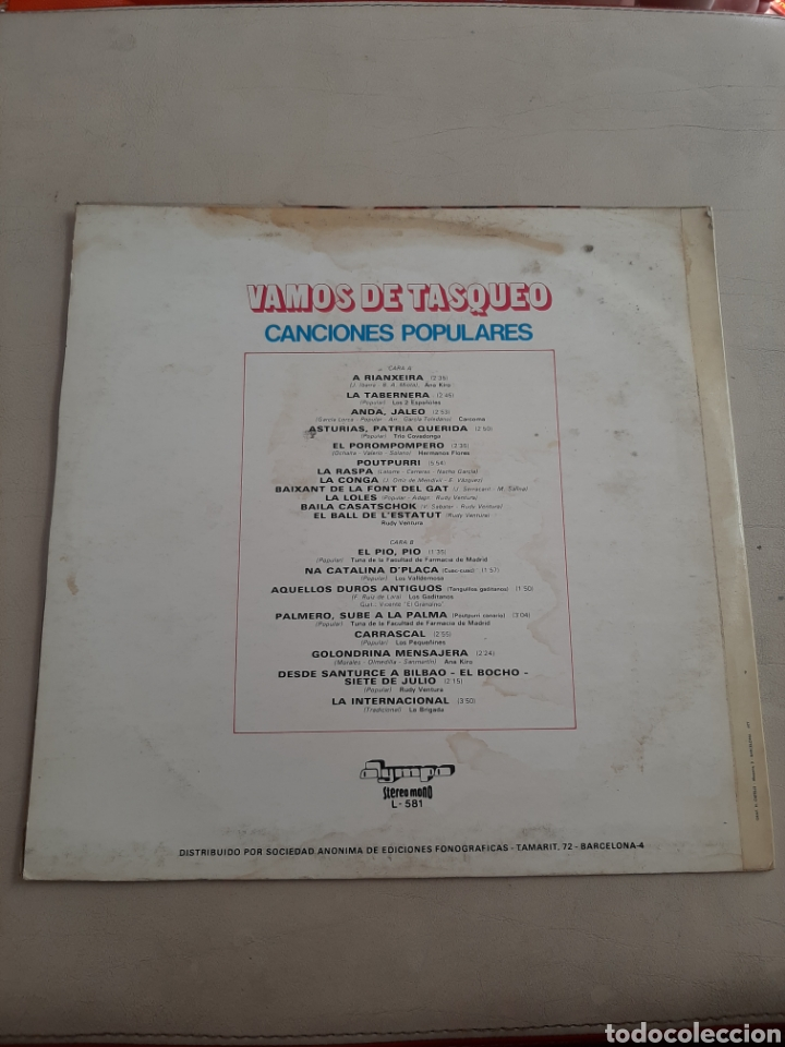 Discos de vinilo: LP VAMOS DE TASQUEO - ANA KIRO, CARCOMA, TRIO COVADONGA, RUDY VENTURA, LOS VALLDEMOSA, ETC - Foto 3 - 207195556