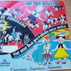 Discos de vinilo: CANCIONES INFANTILES. LOS DIEZ PERRITOS. EL FAROLERO... - SINGLE 45 RPM COLUMBIA 1958 ECGE70062. Lote 207258198