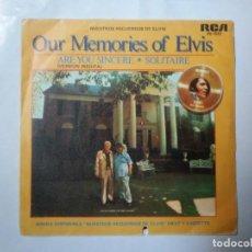 Discos de vinilo: OUR MEMORIES OF ELVIS NUESTROS RECUERDOS DE ELVIS SINGLE RCA 1979. Lote 207306747